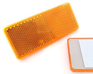 2x-Self-Adhesive-Amber-Orange-Oblong-Rectangular-Trailer-Reflectors-90x40mm
