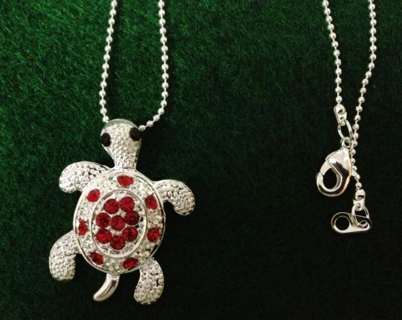 "Women's Necklace - Sea Turtle Silver Pendant Necklace (18"" Chain Included)"
