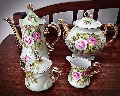 Beautiful Lefton China Heritage Green Tea Pot, Coffee Pot, Sugar, and Creamer
