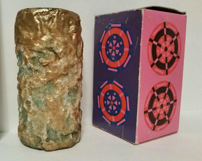 "Vintage CHRISTMAS Holiday wax PILLAR Candle 6"" ORIGINAL BOX Hallmark GOLD green"