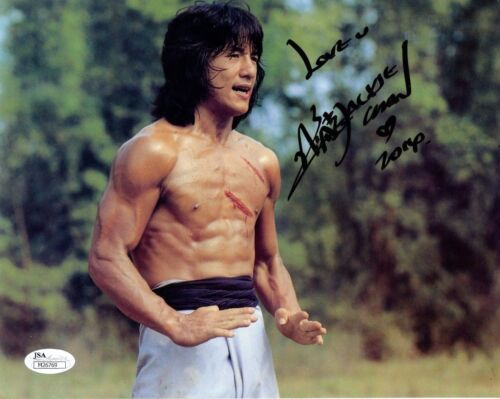 JACKIE CHAN HAND SIGNED 8x10 COLOR PHOTO      SHIRTLESS   RIPPED MUSCLES     JSA