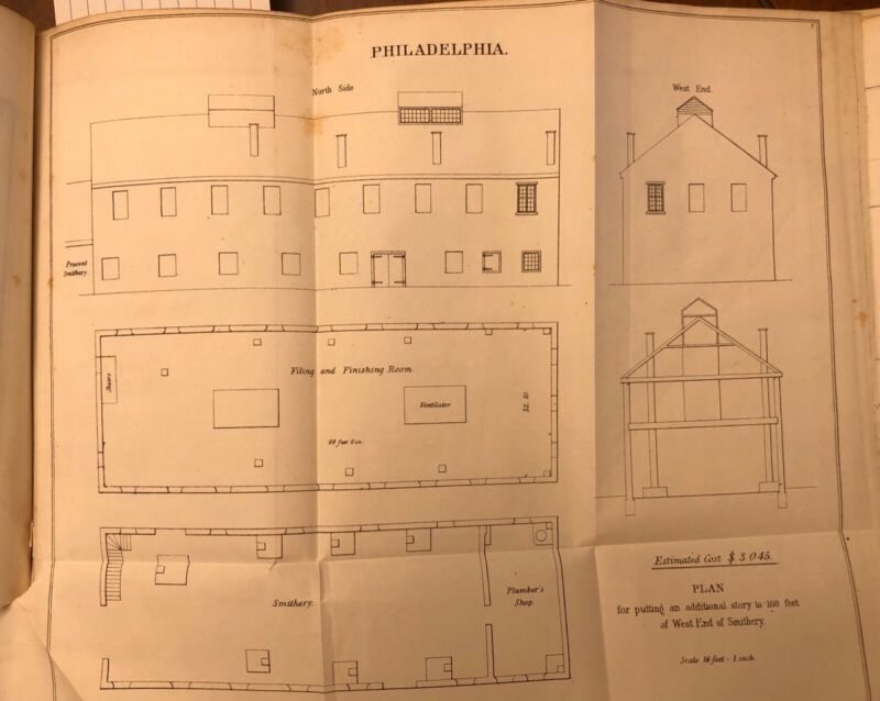1848 Drawing: Plan For US Navy Philadelphia, PA Addition To Smithery - Antique