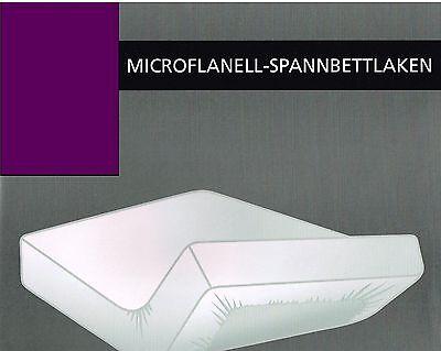 2Stk 90-100x200 WARME Spannbettlaken Bettlaken Spanntuch Mikro Flanell Lila Neu