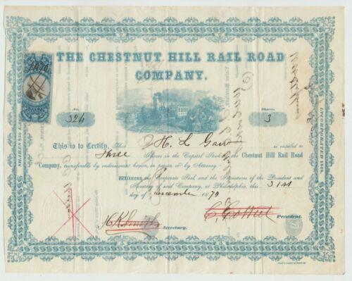 1870 Chestnut Hill Railroad Company Stock Certificate Philadelphia Pennsylvania
