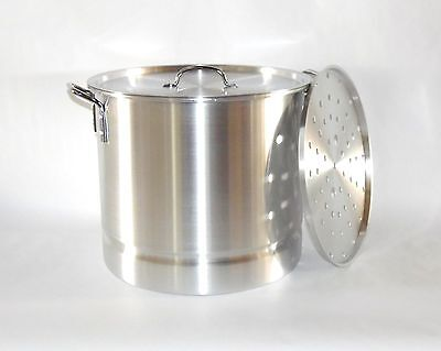 20 QT Quart 5 Gal Aluminum Stock Pot w/ Steamer Rack and Lid