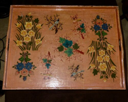 Hand Painted Vintage Wood Tray-India