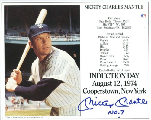 MICKEY CHARLES MANTLE INDUCTION DAY AUGUST 12,1974  AUTOGRAPHED 8 X 10 PHOTO