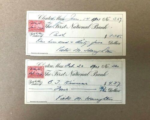 1901 Clinton Massachusetts Obsolete Checks (2) The First National Bank