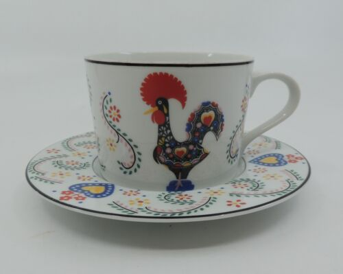 DAYBREAK by Block Spal Multicolor Rooster Hearts Flowers Flat Cup and Saucer