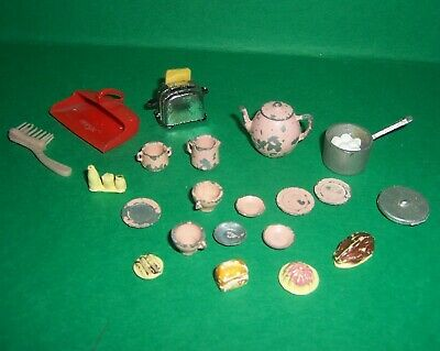 VINTAGE DOLLS HOUSE DOL TOI LUNDBY BARTON BARRETT FOOD KITCHEN ACCESSORIES LOT