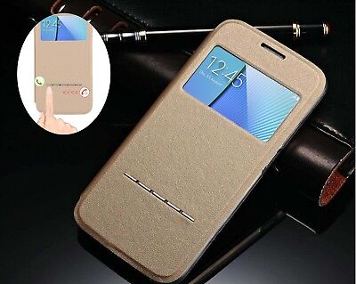 New Flip Leather View Window Stand Case Protective Cover Skin For Samsung Galaxy