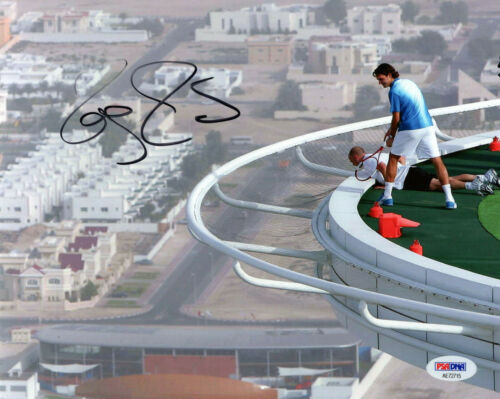 ROGER FEDERER AUTOGRAPHED 8x10 PHOTO      AWESOME POSE WITH ANDRE AGASSI     PSA