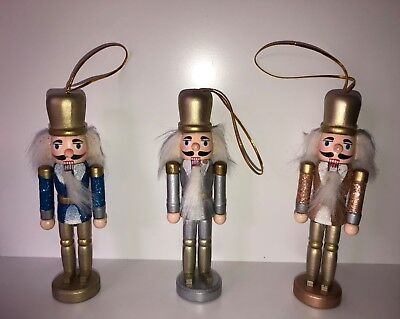 3 pack nutcrackers - gold,blue,silver