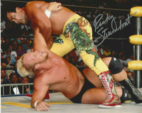 WWF LEGEND  Rickey The Dragon Steamboat  autographed 8x10 action color  photo **
