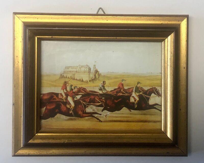 Vintage Small Print Early Horse Race Jockey Framed Gold Art Equestrian Derby