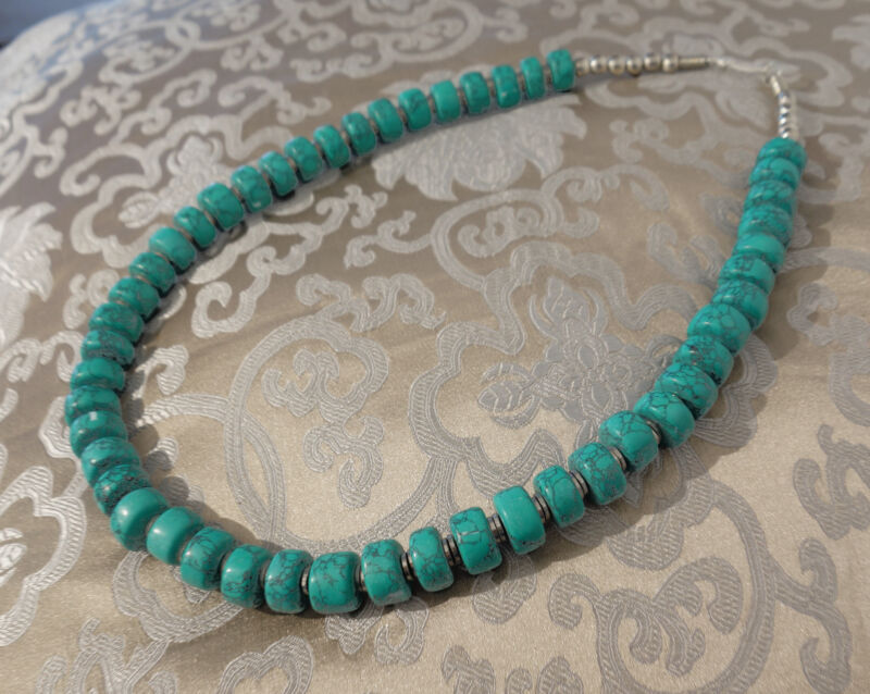Massive, Very Beautiful Long Chain from Nepal with Real Turquoise 22 13/16in