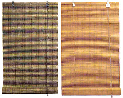 "2'x5.5' 24""x66"" Bamboo Flat Stick Slat Roll Up Blinds Window Sun Filtering Shade"
