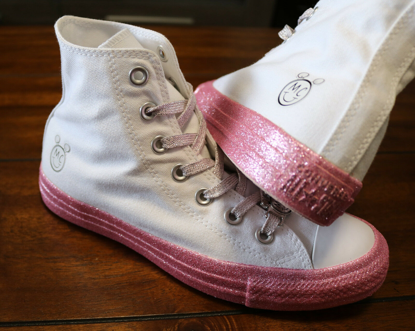 02b6afe7da3af2 Womens Converse x Miley Cyrus Chuck Taylor All Star Glitter High Top White  Pink