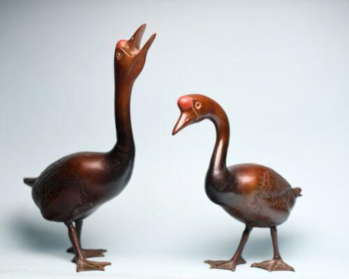 antique bronze Japanese pair geese goose Okimono sculptures statues Meiji signed