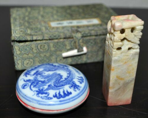 """CHINESE WAX SEAL STAMP Ink Pot Set & Silk Case. Carved Stone Dragon. """"WILL"""""""