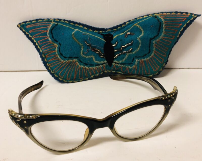 Vintage 1950s Victory Cat Eye Glasses 5-3/4  Bifocal ART DECO Rhinestones w Case