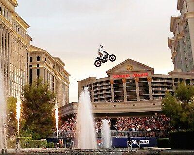 Travis Pastrana 8X10 Photo Evel Live Caesars Palace Fountain Motorcycle Jump