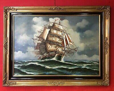 quadro dipinto a mano su tela olio antico grande firmato con cornice dorata 900