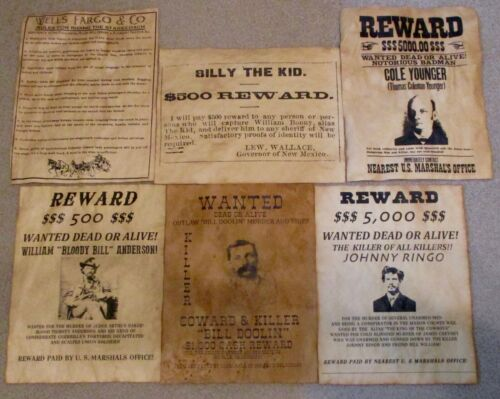 Billy the Kid Wells Fargo Johnny Ringo Cole Younger Old West Wanted Posters