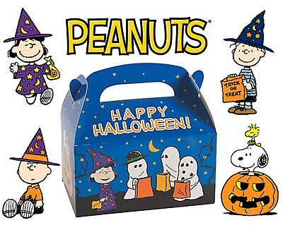 Set of 4 Peanuts Halloween Favor Boxes ft. Charlie Brown, Lucy, Snoopy &