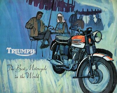 Triumph Motorcycle Brochure Bonneville Trophy 650 Cub 1965 Original Old Stock