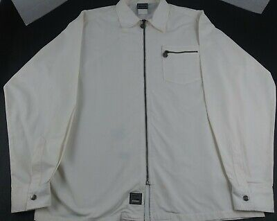 Vintage Versace Jeans Couture XXL White Zipper Buttons Jacket Coat *Dry Cleaned*