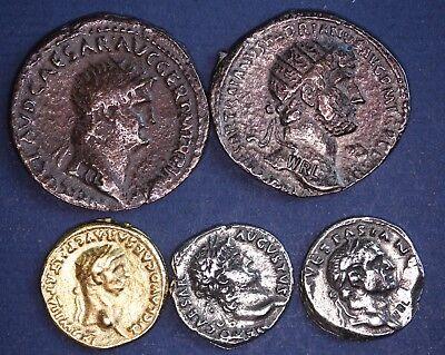 5 REPRODUCTION Roman coins, Dupondius, Aureus, Denarius, Nice group [5MRC]