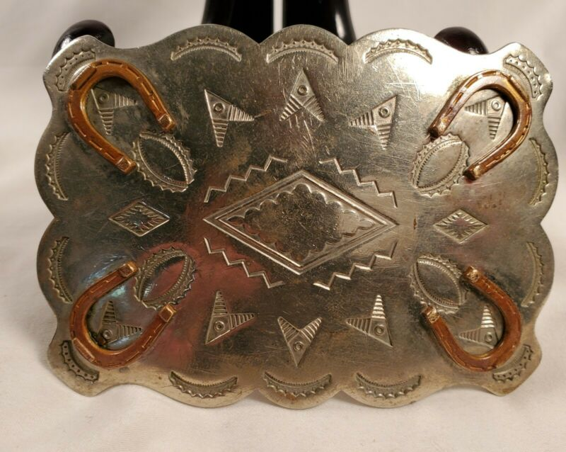 Western Solid Nickel Silver Native American Buckle With Symbols, Horseshoes!