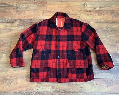 7cd5c3c339fbb Duxbak Mackinaw Aircel Wool Hunting Jacket Coat Buffalo Plaid W Fowl Pouch  Sz Xl