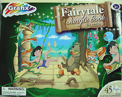 Jigsaw Puzzle Grafix Fairytale Jungle Book 45 Pieces Ages 3+ Years NIB     (686), used for sale  Shipping to India