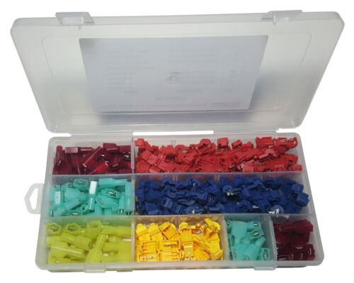 SPADE TERMINALS 240 PCS T-TAP ELECTRICAL WIRE CONNECTOR ASSORTMENT KIT 120 PAIRS