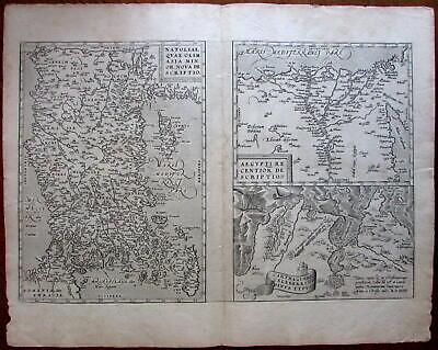 Turkey Cyprus Greece Egypt Tunis Africa coast 1574 Ortelius map vdB 174 scarce