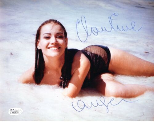 CLAUDINE AUGER HAND SIGNED 8x10 COLOR PHOTO   SEXY BOND GIRL   THUNDERBALL  JSA