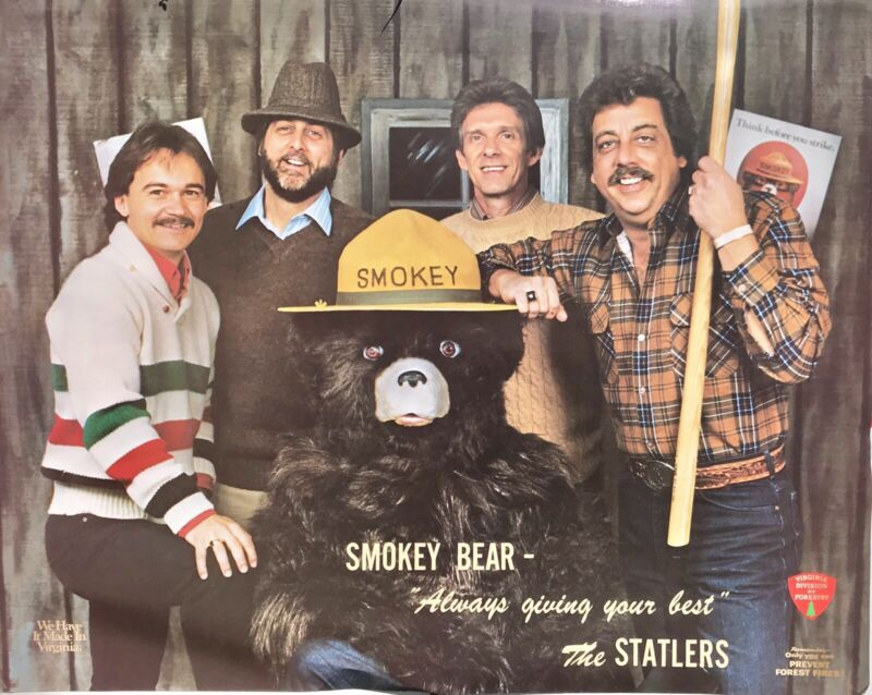 VERY RARE VINTAGE STATLER BROTHERS POSTER SMOKEY THE BEAR VIRGINIA FORESTRY