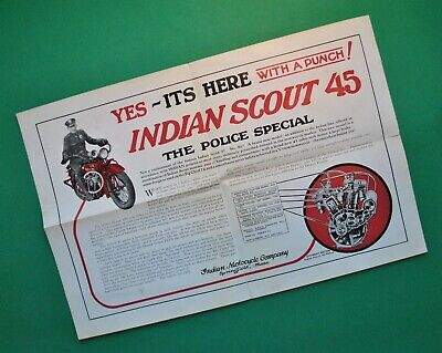 Vintage Antique Original 1927 Indian Motorcycle Scout 45 Brochure