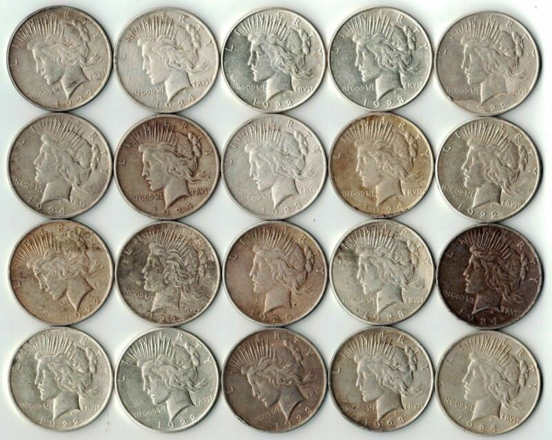 ROLL Lot VG-XF (20) 1922-1925 P/D/S Peace Silver Dollar 90% Eagle Collection