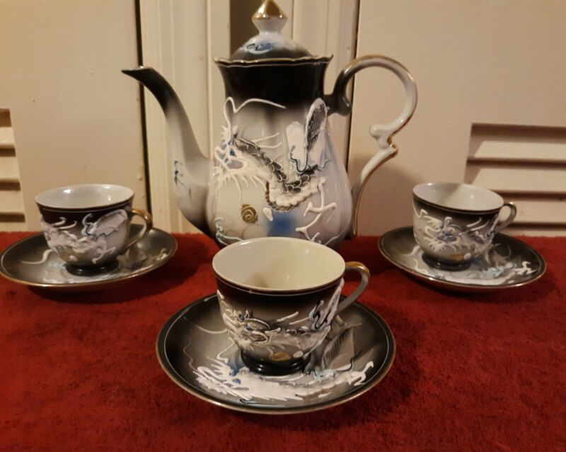 Beautiful Japanese Moriage Dragon Black, Blue & White Teapot Tea Set