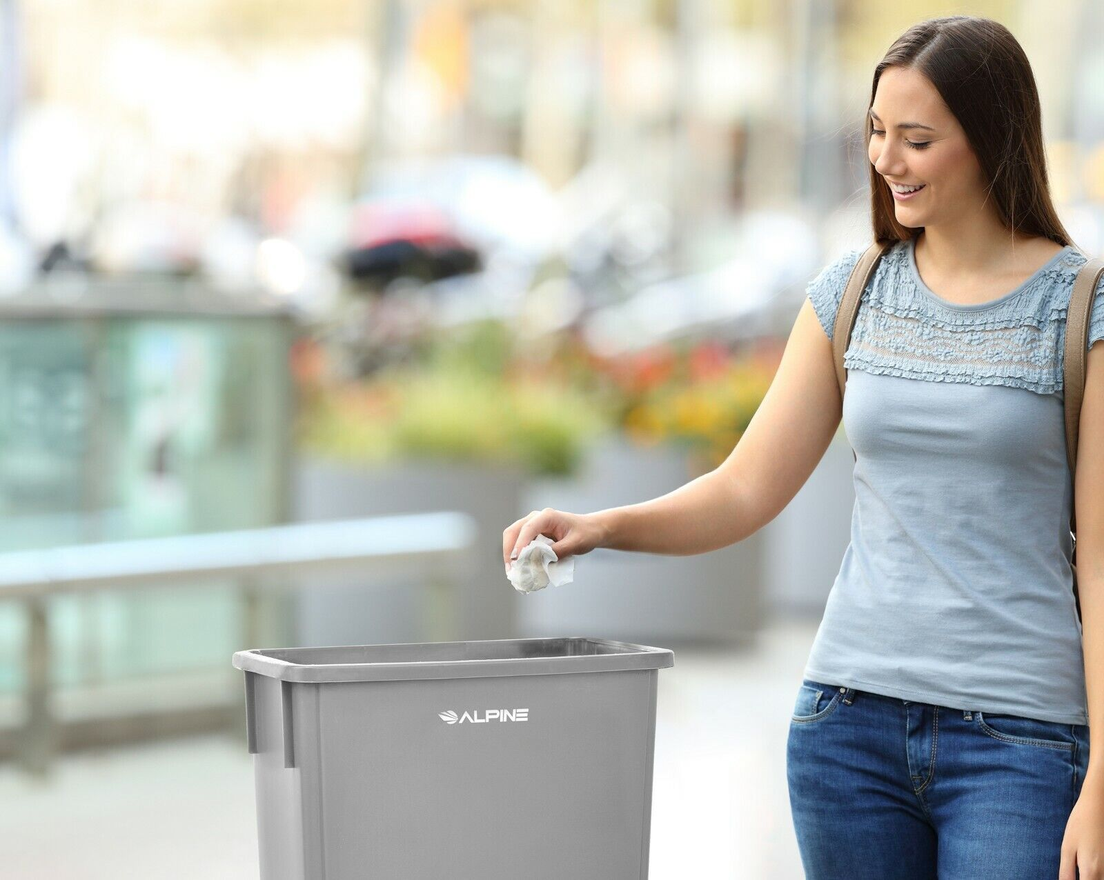 Alpine Industries 23 Gal Gray Slim Commercial Trash Can with Swing Lid Combo