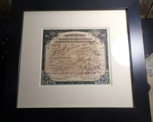 Framed and Matted Prescription Blank National Prohibition Act 1926 Sedalia Mo.