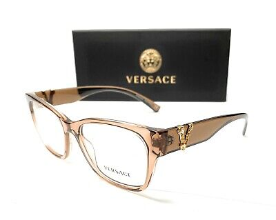 Versace VE3283 5328 Transparent Brown Women's Square Eyeglasses Frame 54 mm