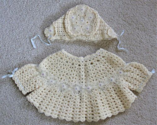 Vintage Antique Baby Hand Crocheted Knitted Sweater Bonnet 0-3 mon. ?