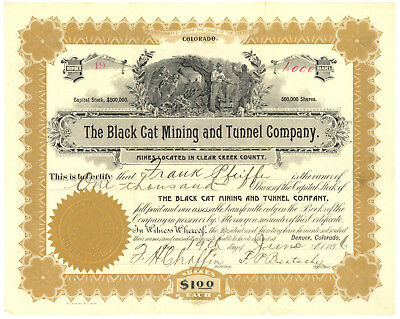Black Cat Mining and Tunnel Company. Stock Certificate. Clear Creek Colorado