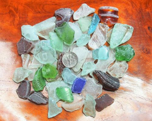 50 GENUINE Beach Sea Glass Surf Tumbled ~ Rustic ~ Nautical ~ Hawaii