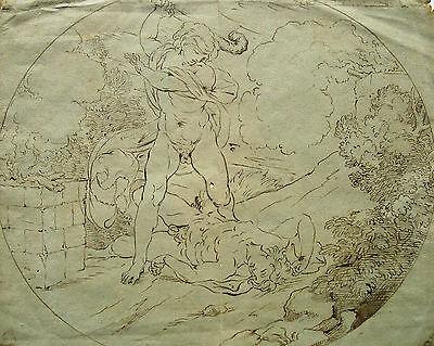 """Unbekannt / Zeichnung """"Kain ermordet Abel"""" / 18. Jhd / Provenienz Robert Udny"""