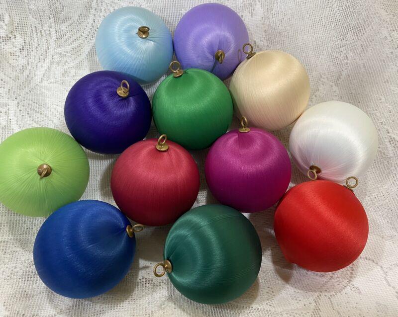 12 Various Color Satin Christmas Ball Ornaments Silk Thread Styrofoam Holiday